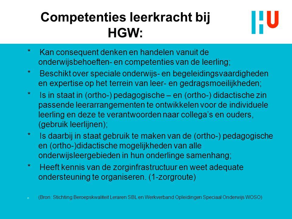 Competenties leerkracht bij HGW: