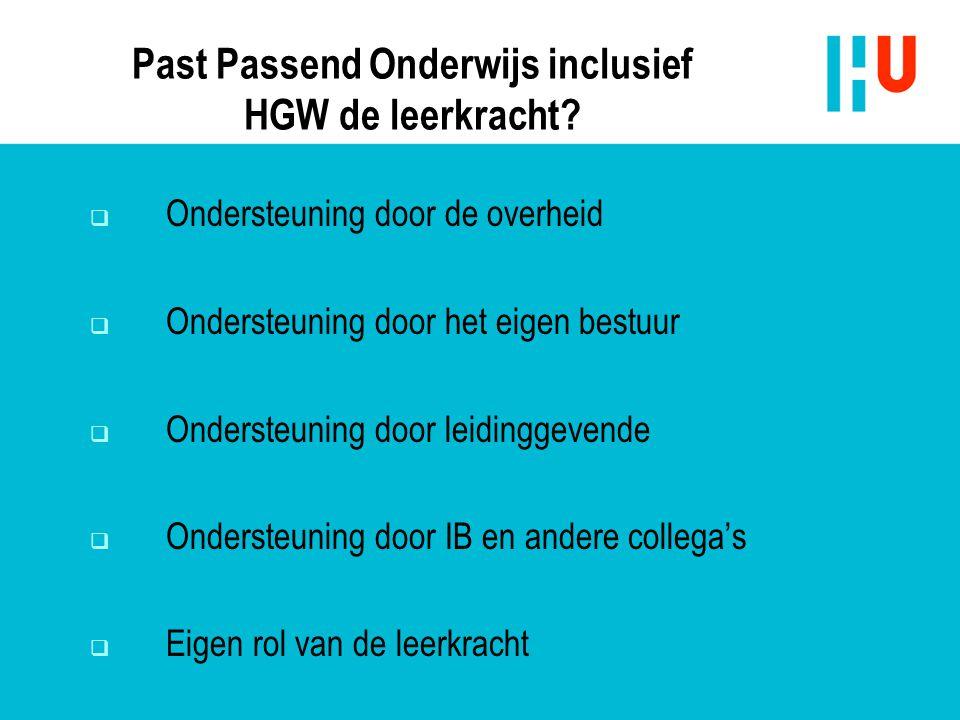 Past Passend Onderwijs inclusief HGW de leerkracht