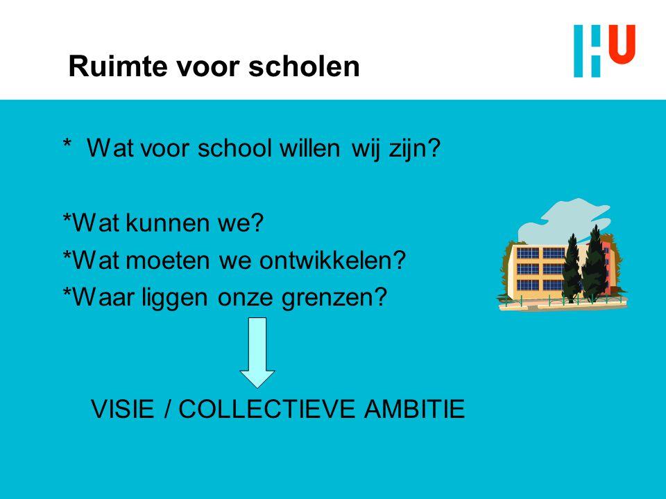Ruimte voor scholen * Wat voor school willen wij zijn *Wat kunnen we