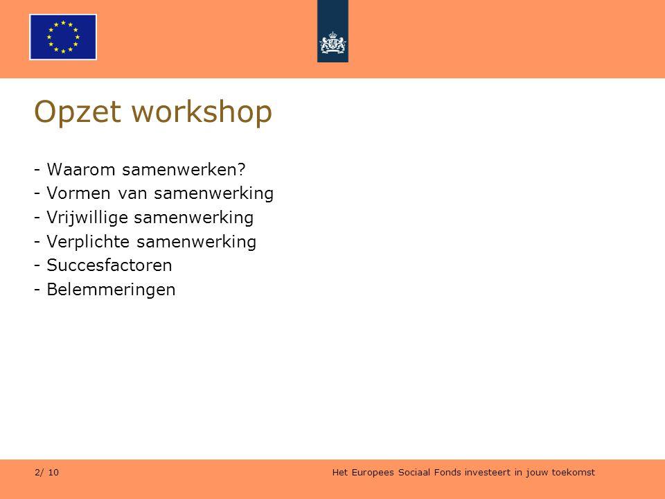Opzet workshop Waarom samenwerken Vormen van samenwerking