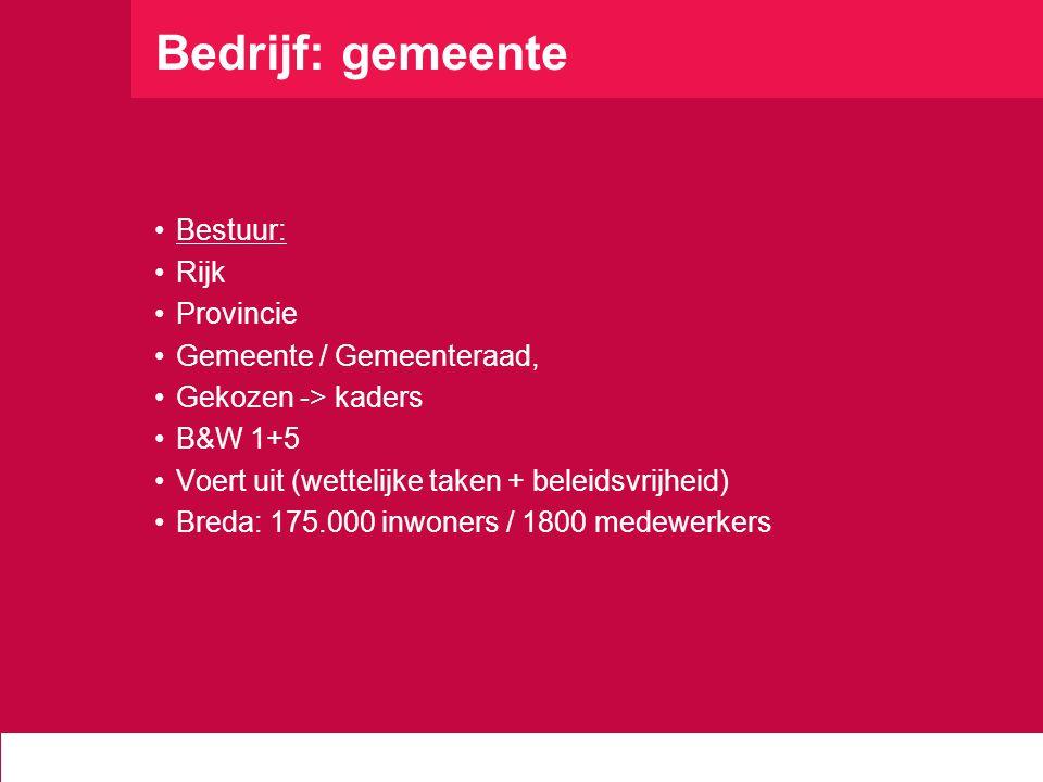 Bedrijf: gemeente Bestuur: Rijk Provincie Gemeente / Gemeenteraad,