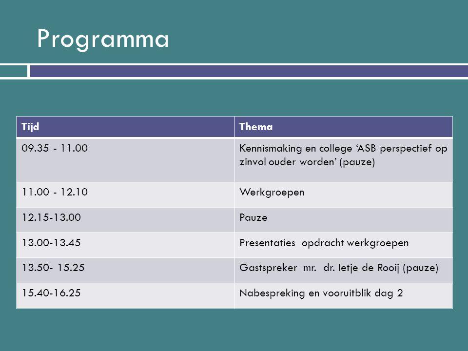 Programma Tijd. Thema. 09.35 - 11.00. Kennismaking en college 'ASB perspectief op zinvol ouder worden' (pauze)