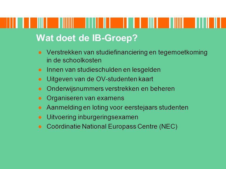 Wat doet de IB-Groep Verstrekken van studiefinanciering en tegemoetkoming in de schoolkosten. Innen van studieschulden en lesgelden.