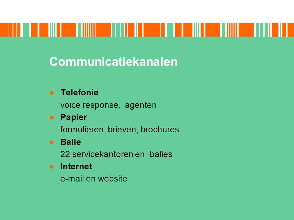 Communicatiekanalen Telefonie voice response, agenten Papier