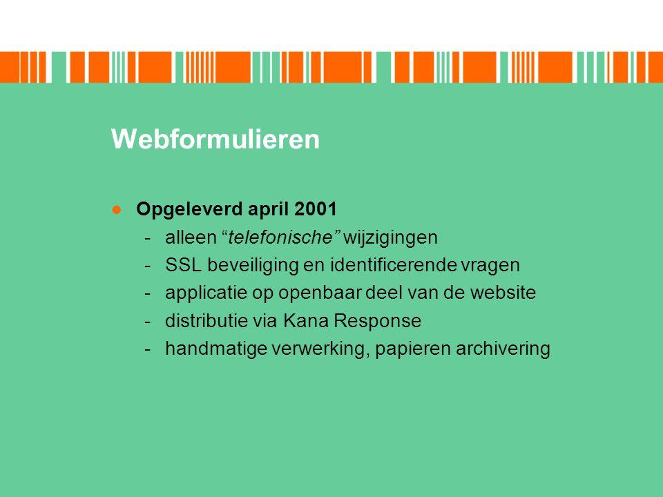 Webformulieren Opgeleverd april 2001 alleen telefonische wijzigingen