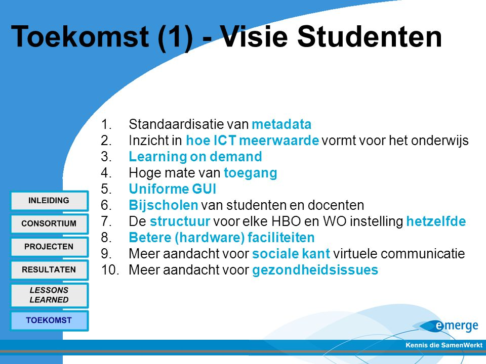 Toekomst (1) - Visie Studenten