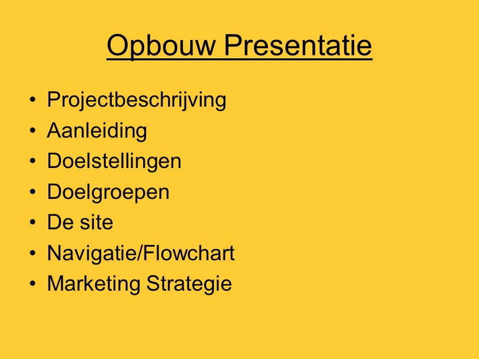 Opbouw Presentatie Projectbeschrijving Aanleiding Doelstellingen