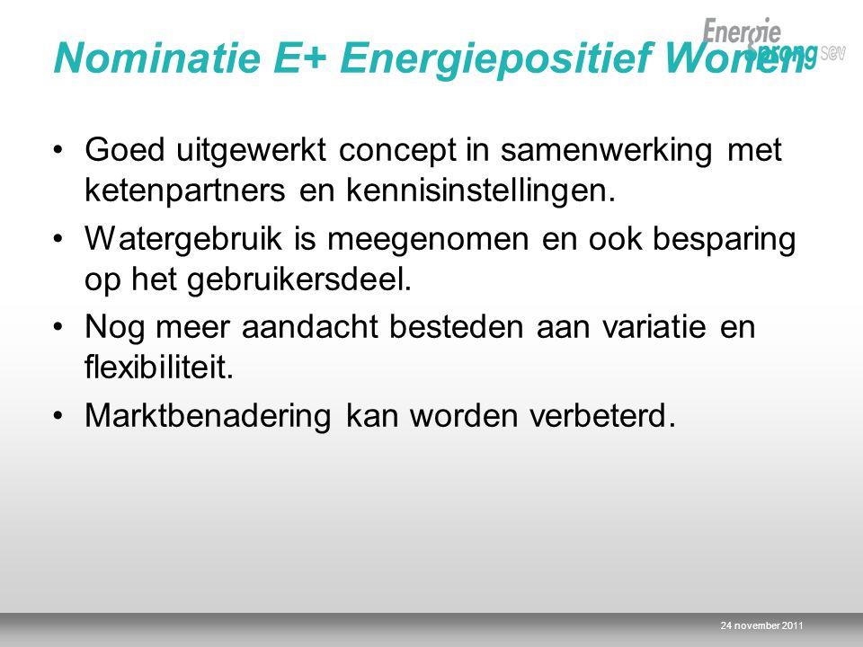 Nominatie E+ Energiepositief Wonen