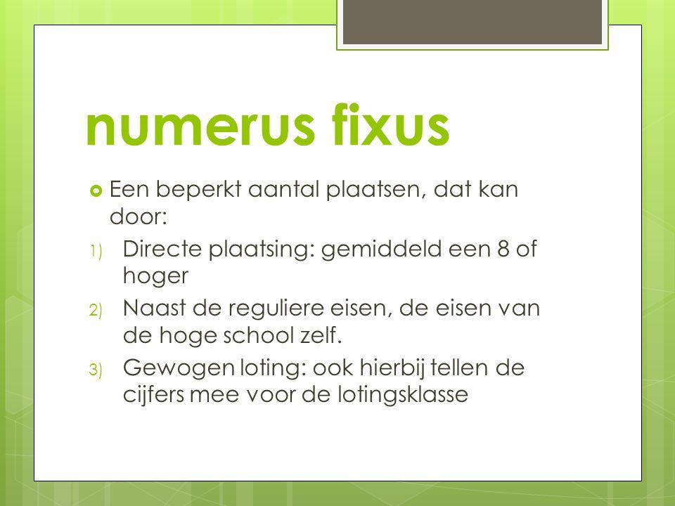 numerus fixus Een beperkt aantal plaatsen, dat kan door: