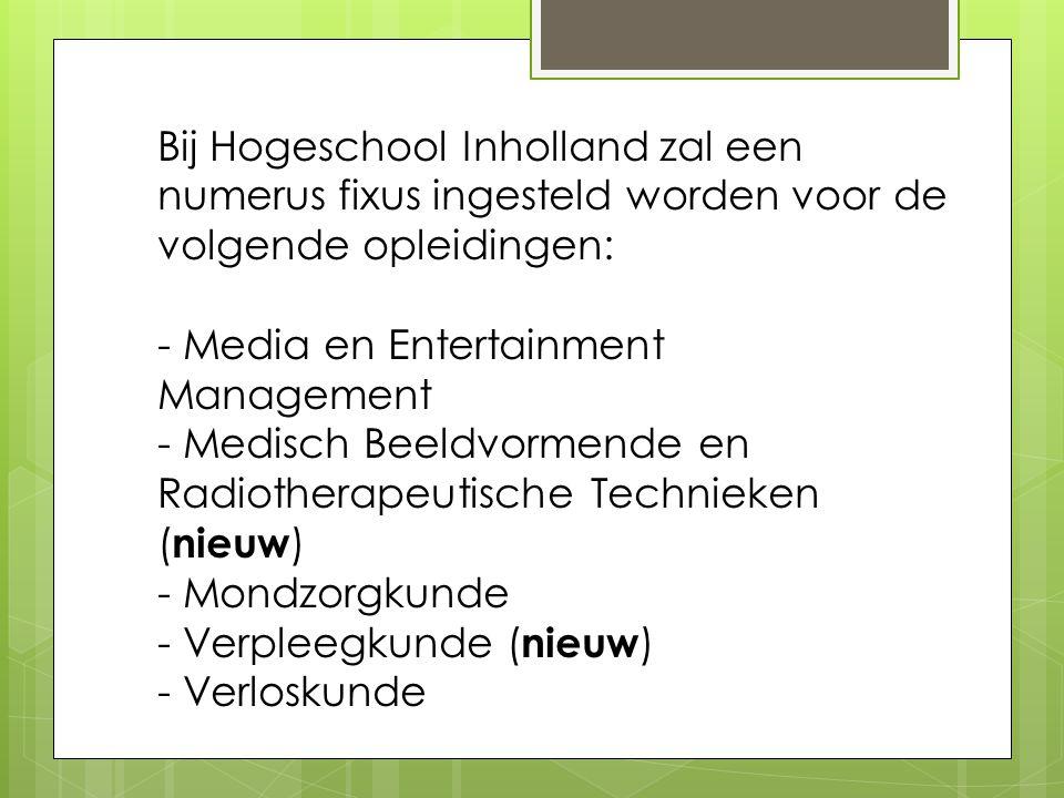 Bij Hogeschool Inholland zal een numerus fixus ingesteld worden voor de volgende opleidingen:
