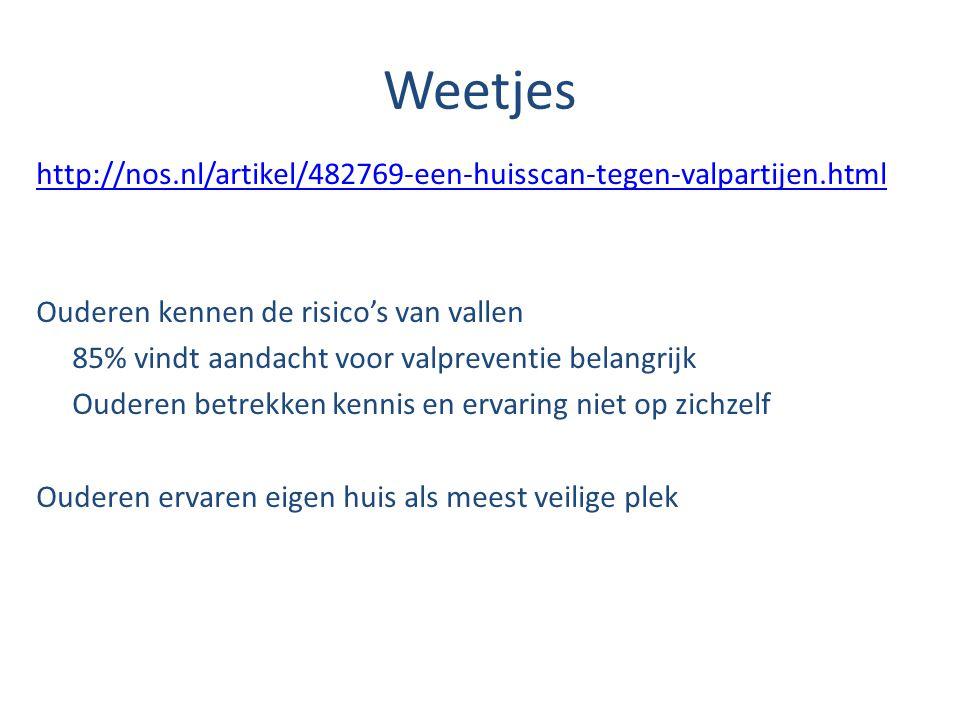 Weetjes http://nos.nl/artikel/482769-een-huisscan-tegen-valpartijen.html. Ouderen kennen de risico's van vallen.