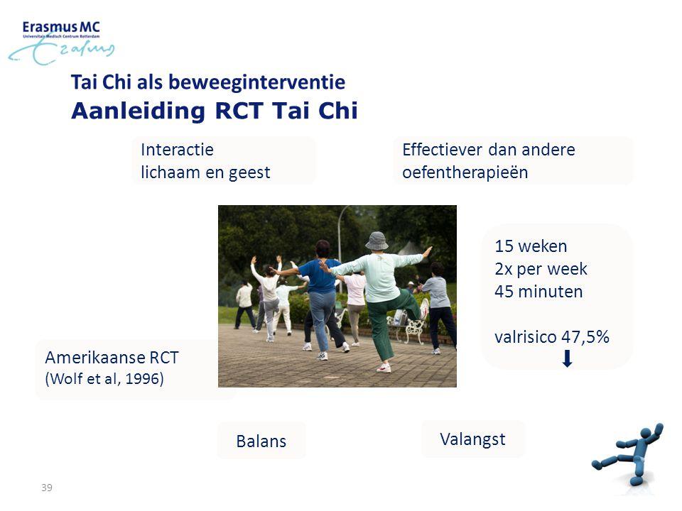 Tai Chi als beweeginterventie Aanleiding RCT Tai Chi