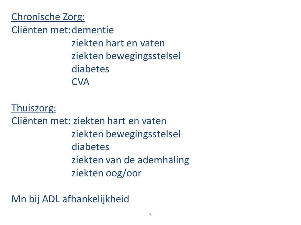Chronische Zorg: Cliënten met: dementie. ziekten hart en vaten. ziekten bewegingsstelsel. diabetes.