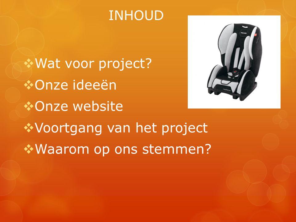 INHOUD Wat voor project Onze ideeën Onze website Voortgang van het project Waarom op ons stemmen
