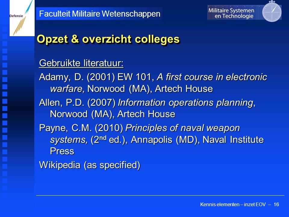 Opzet & overzicht colleges