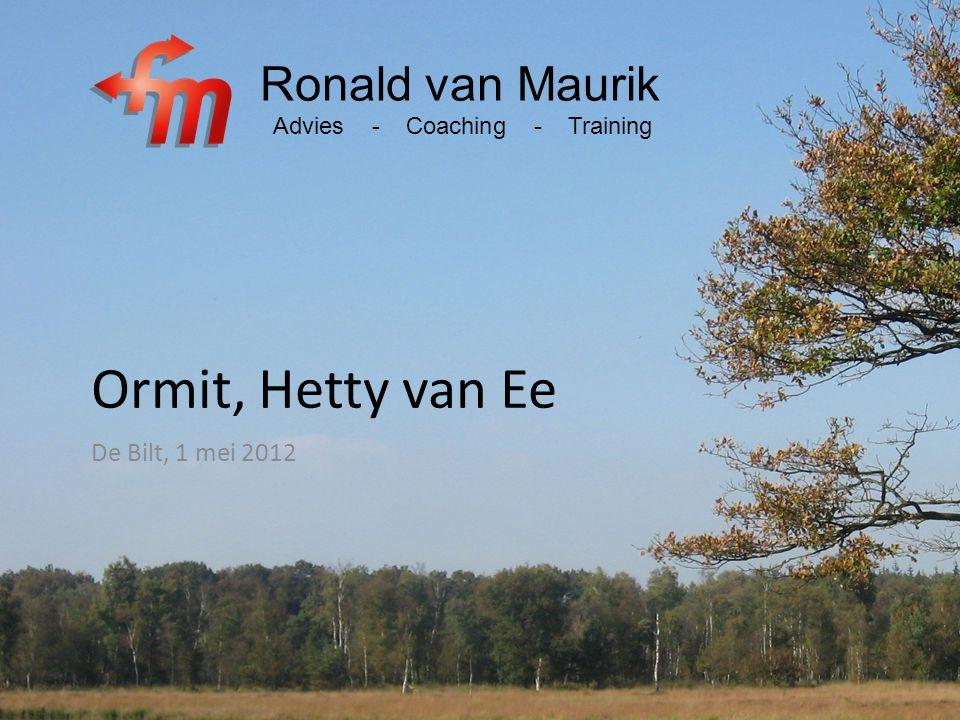 Ormit, Hetty van Ee Ronald van Maurik De Bilt, 1 mei 2012