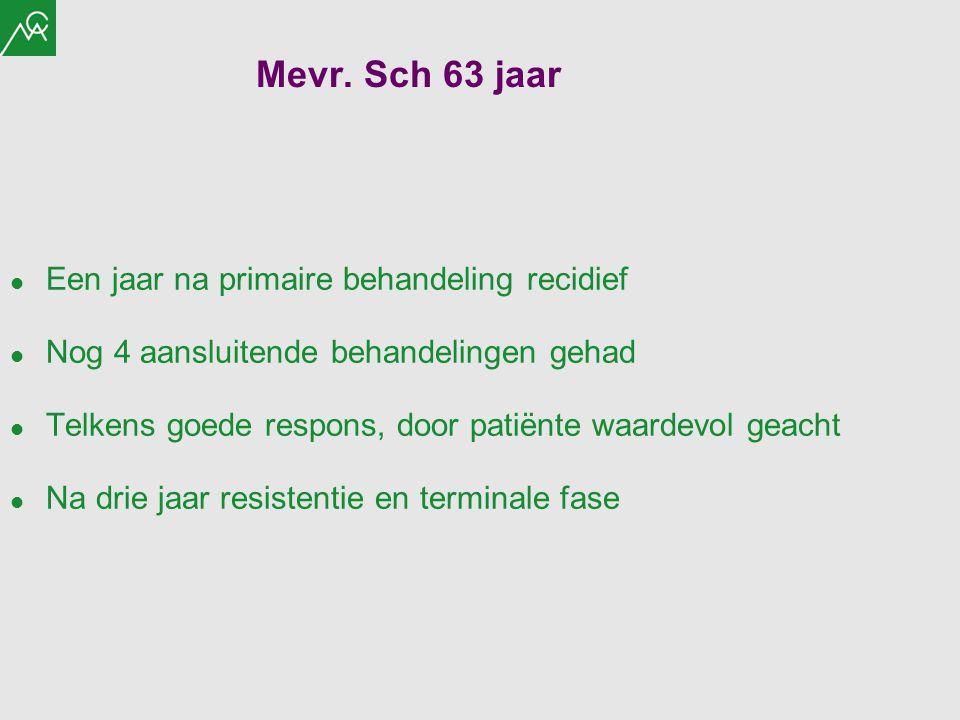 Mevr. Sch 63 jaar Een jaar na primaire behandeling recidief