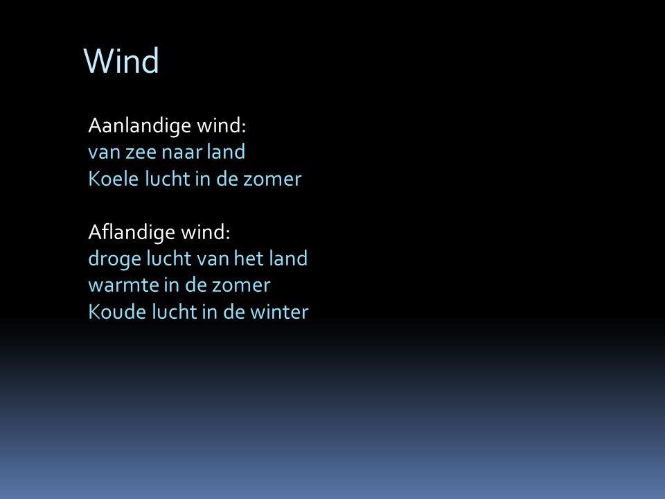Wind Aanlandige wind: van zee naar land Koele lucht in de zomer