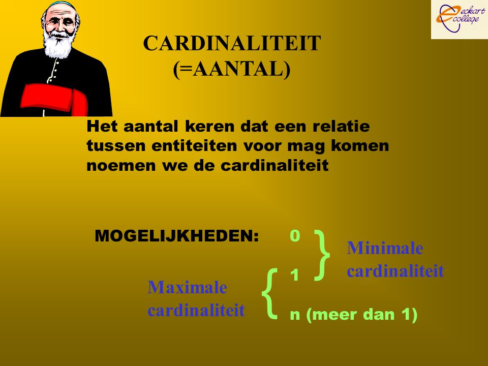 } { CARDINALITEIT (=AANTAL) Minimale cardinaliteit Maximale