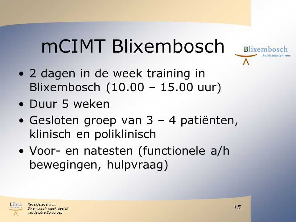 mCIMT Blixembosch 2 dagen in de week training in Blixembosch (10.00 – 15.00 uur) Duur 5 weken.