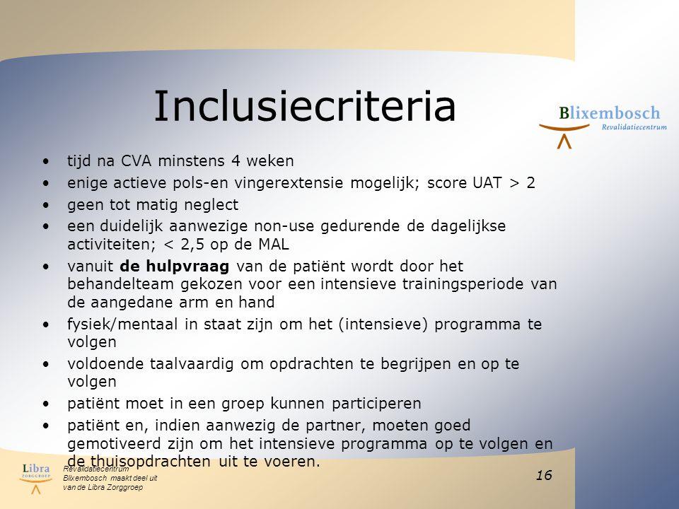 Inclusiecriteria tijd na CVA minstens 4 weken