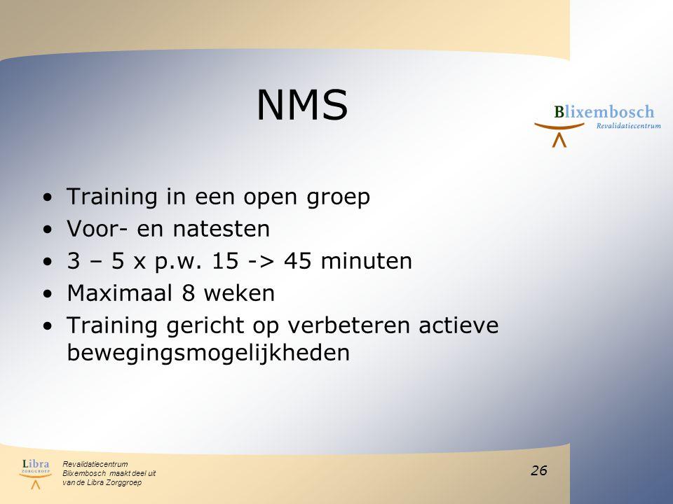 NMS Training in een open groep Voor- en natesten