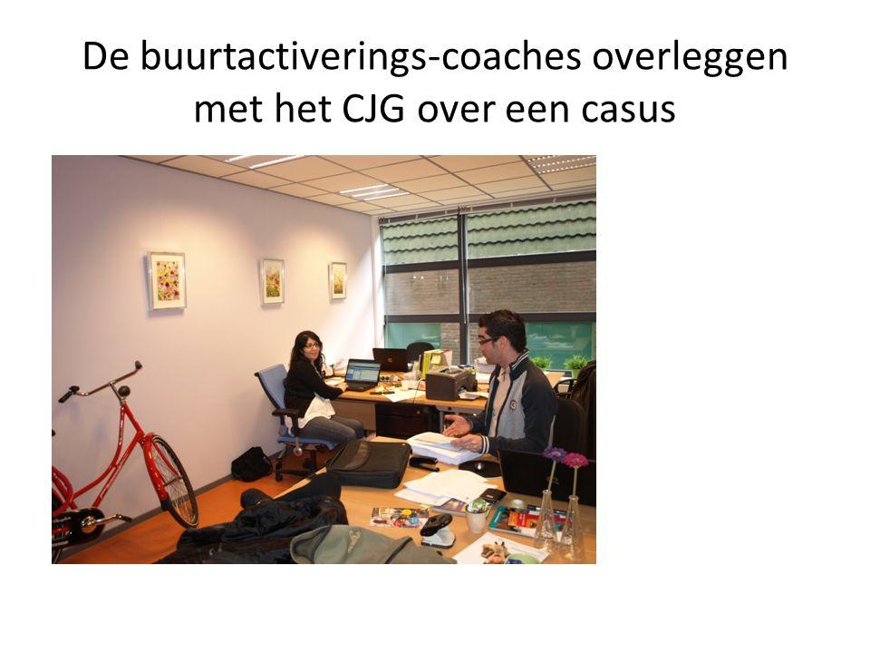 De buurtactiverings-coaches overleggen met het CJG over een casus