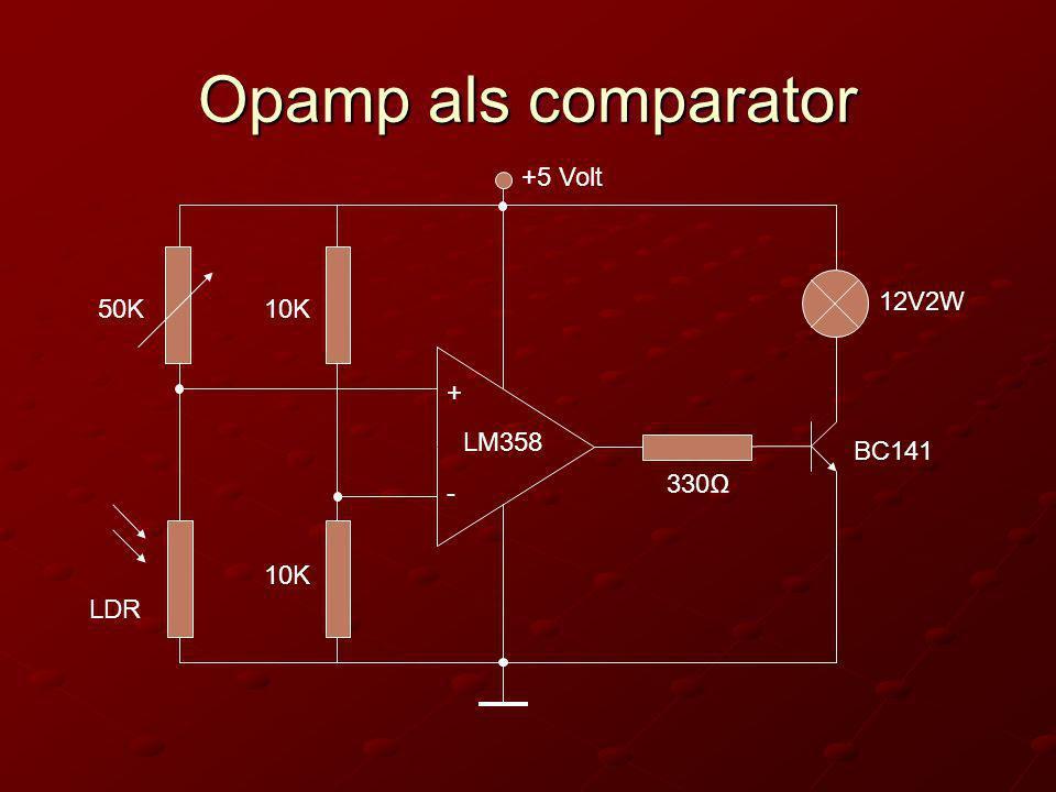 Opamp als comparator +5 Volt 12V2W 50K 10K + LM358 BC141 330Ω - 10K