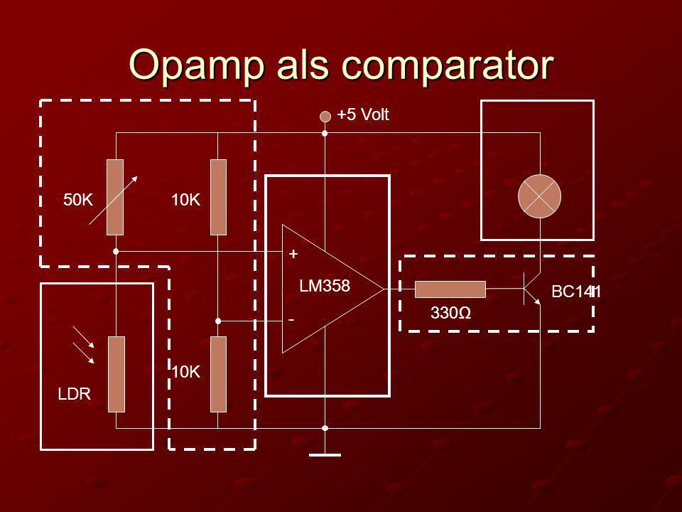 Opamp als comparator +5 Volt 50K 10K + LM358 BC141 330Ω - 10K LDR