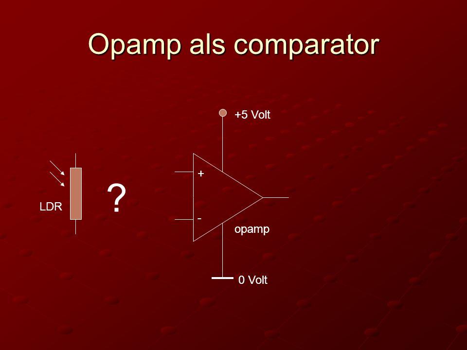 Opamp als comparator +5 Volt + LDR - opamp 0 Volt