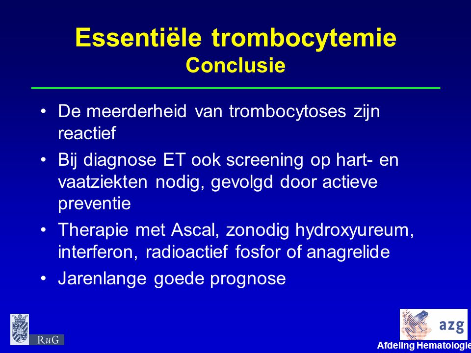 Essentiële trombocytemie Conclusie