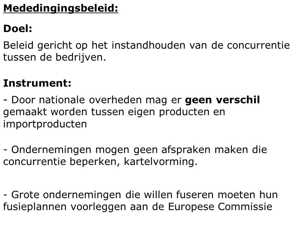 Mededingingsbeleid: Doel: Beleid gericht op het instandhouden van de concurrentie tussen de bedrijven.