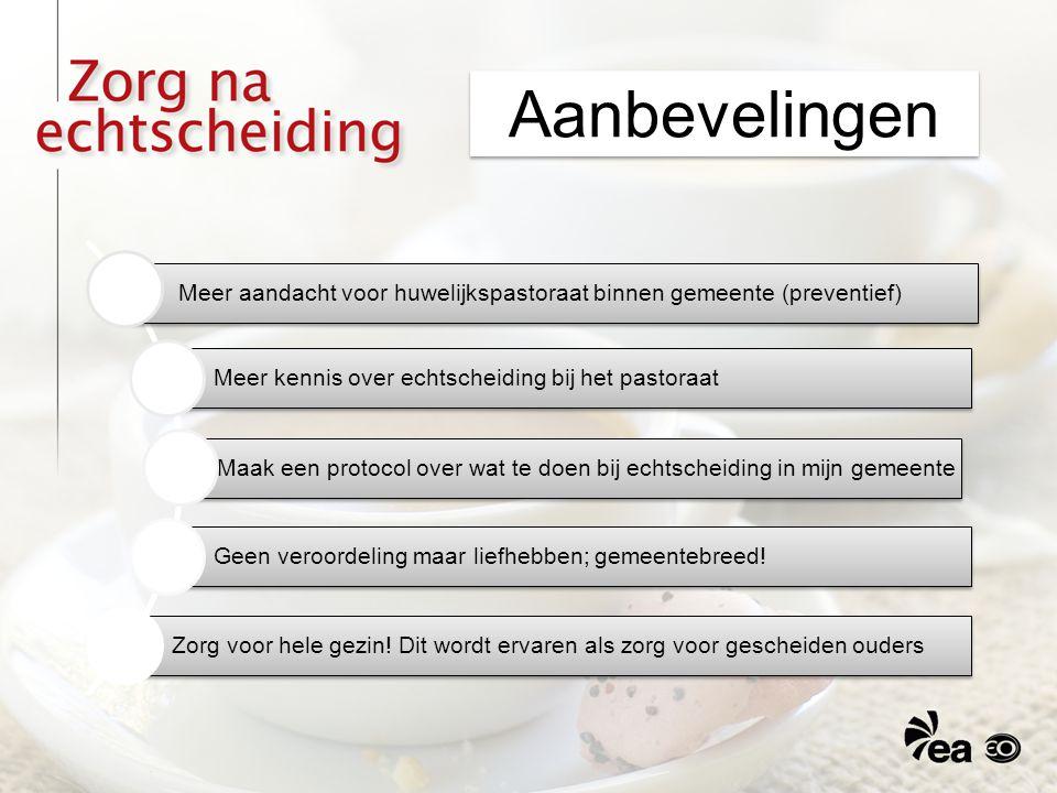 Aanbevelingen Meer aandacht voor huwelijkspastoraat binnen gemeente (preventief) Meer kennis over echtscheiding bij het pastoraat.