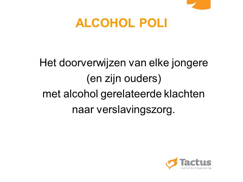 ALCOHOL POLI Het doorverwijzen van elke jongere (en zijn ouders)