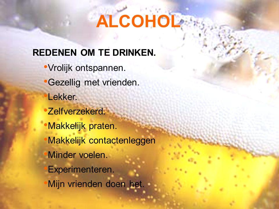 ALCOHOL REDENEN OM TE DRINKEN. Vrolijk ontspannen.