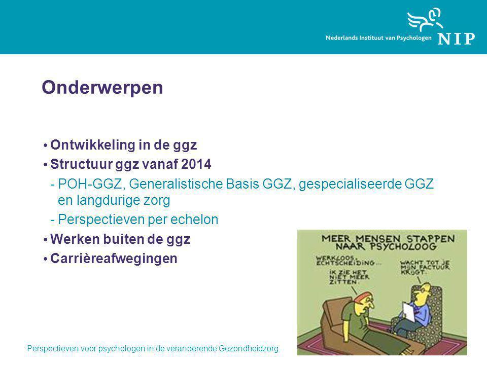 Onderwerpen Ontwikkeling in de ggz Structuur ggz vanaf 2014