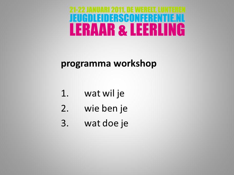 programma workshop 1. wat wil je 2. wie ben je 3. wat doe je