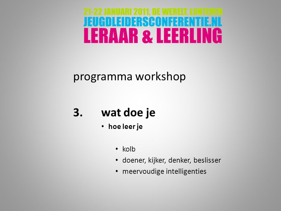 programma workshop 3. wat doe je hoe leer je kolb