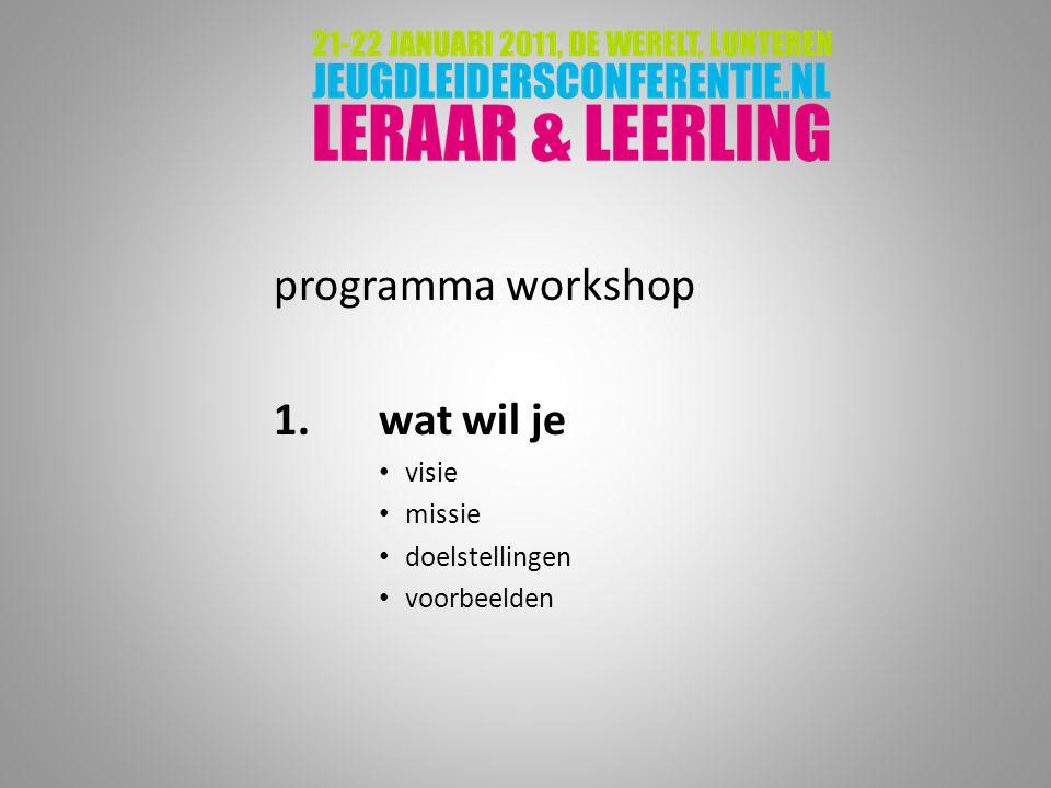 programma workshop 1. wat wil je visie missie doelstellingen