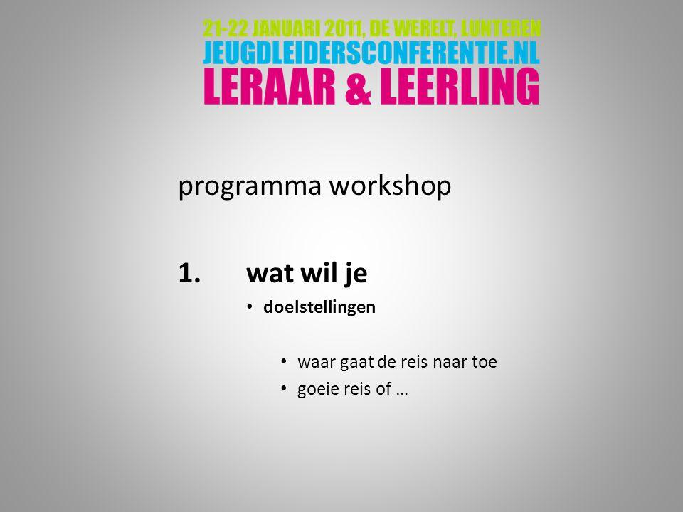 programma workshop 1. wat wil je doelstellingen