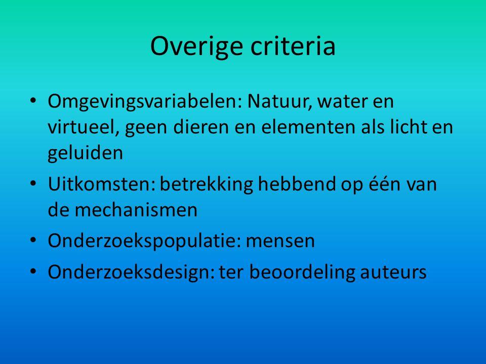 Overige criteria Omgevingsvariabelen: Natuur, water en virtueel, geen dieren en elementen als licht en geluiden.
