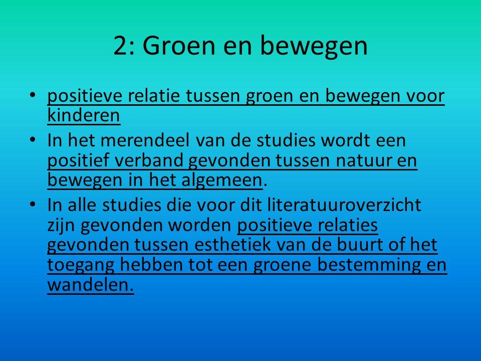 2: Groen en bewegen positieve relatie tussen groen en bewegen voor kinderen.