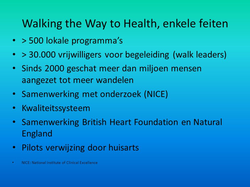 Walking the Way to Health, enkele feiten