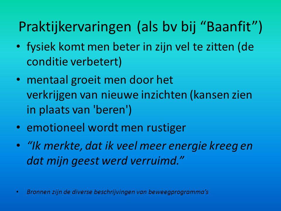 Praktijkervaringen (als bv bij Baanfit )