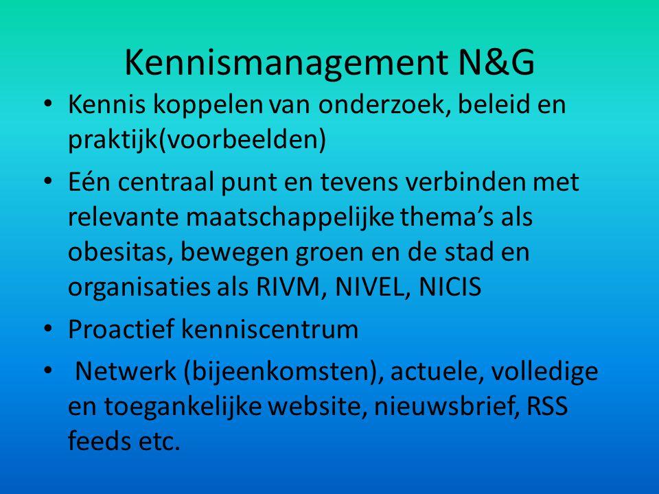 Kennismanagement N&G Kennis koppelen van onderzoek, beleid en praktijk(voorbeelden)