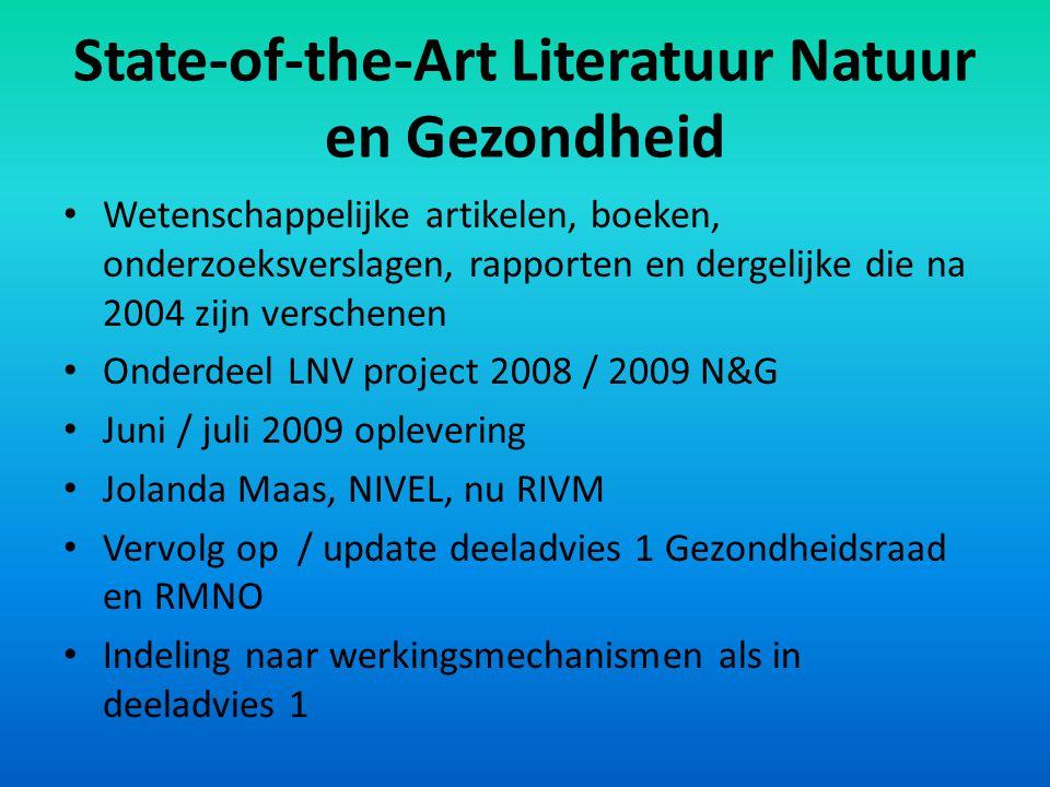 State-of-the-Art Literatuur Natuur en Gezondheid