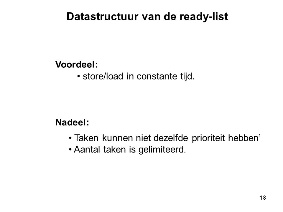 Datastructuur van de ready-list