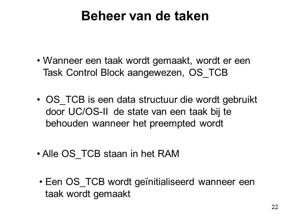 Beheer van de taken Wanneer een taak wordt gemaakt, wordt er een Task Control Block aangewezen, OS_TCB.