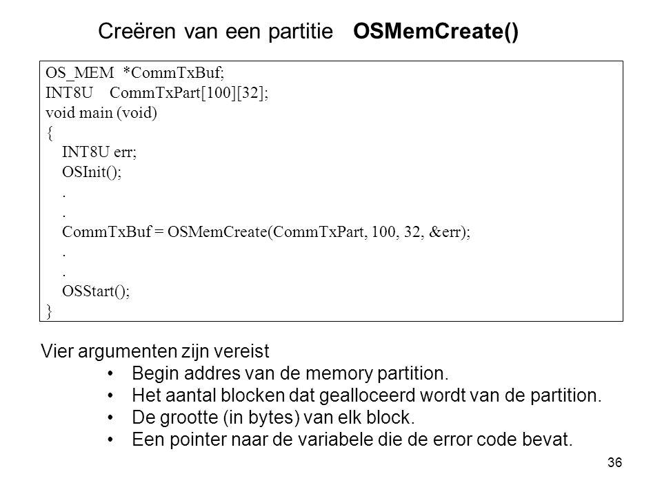 Creëren van een partitie OSMemCreate()