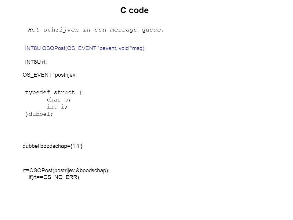 C code Het schrijven in een message queue. typedef struct { char c;